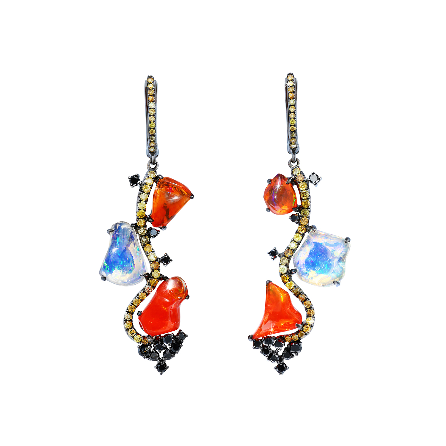 Bespoke Jewellery Singapore Exotic Gems & Jewellery Pte Ltd Fire Opal Fancy Diamond Earrings