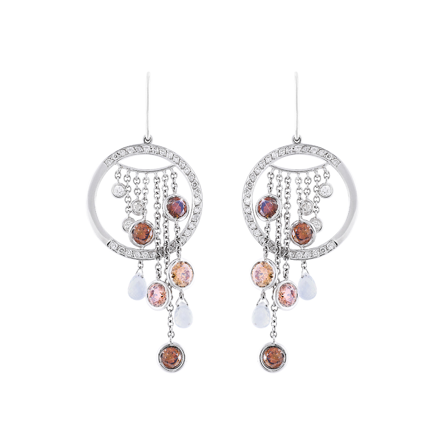 Bespoke Jewellery Exotic Gems & Jewellery Pte Ltd Earrings White Gold Brown Diamonds White Diamonds