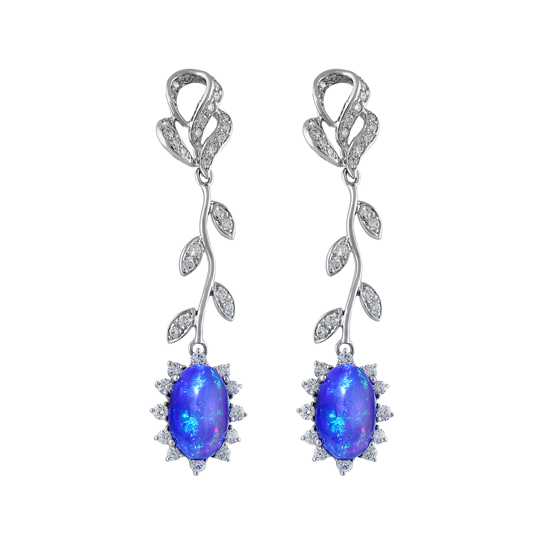 Bespoke Jewellery Singapore Exotic Gems & Jewellery Pte Ltd Opal Diamond Earrings