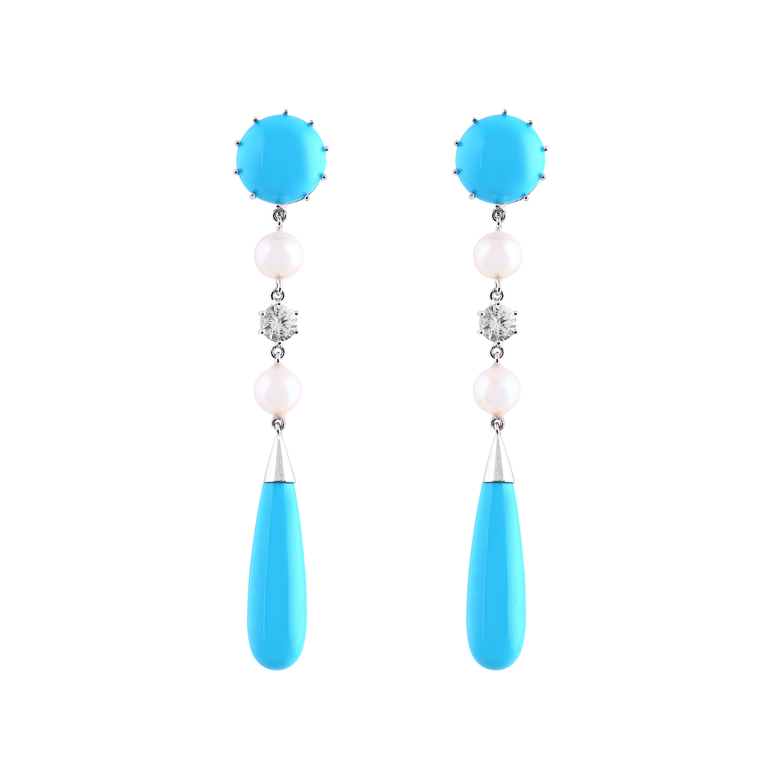 Bespoke Jewellery Singapore Exotic Gems & Jewellery Pte Ltd Turquoise Pearl Diamond Earrings