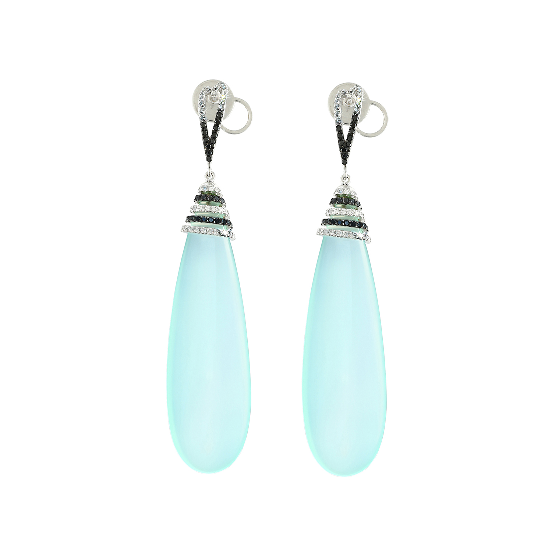 Bespoke Jewellery Singapore Exotic Gems & Jewellery Pte Ltd Chalcedony Diamond Earrings