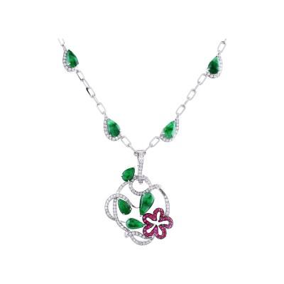Bespoke Jewellery Singapore Exotic Gems & Jewellery Pte Ltd Jade Ruby Diamond Necklace