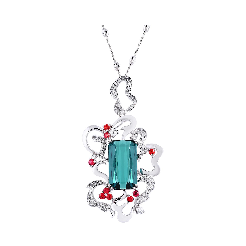 Bespoke Jewellery Singapore Exotic Gems & Jewellery Pte Ltd London Blue Tourmaline Ruby Diamond Pendant