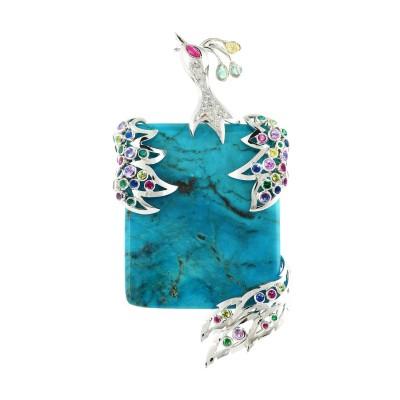 Bespoke Jewellery Singapore Exotic Gems & Jewellery Pte Ltd Turquoise Fancy Sapphire Diamond Pendant