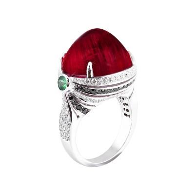 Bespoke Jewellery Singapore Exotic Gems & Jewellery Pte Ltd Rubelite Diamond Ring