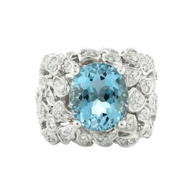 Bespoke Jewellery Exotic Gems & Jewellery Pte Ltd Aquamarine Diamond Ring