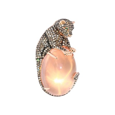 Bespoke Jewellery Singapore Exotic Gems & Jewellery Pte Ltd Rose Quartz Diamond Brooch Pendant